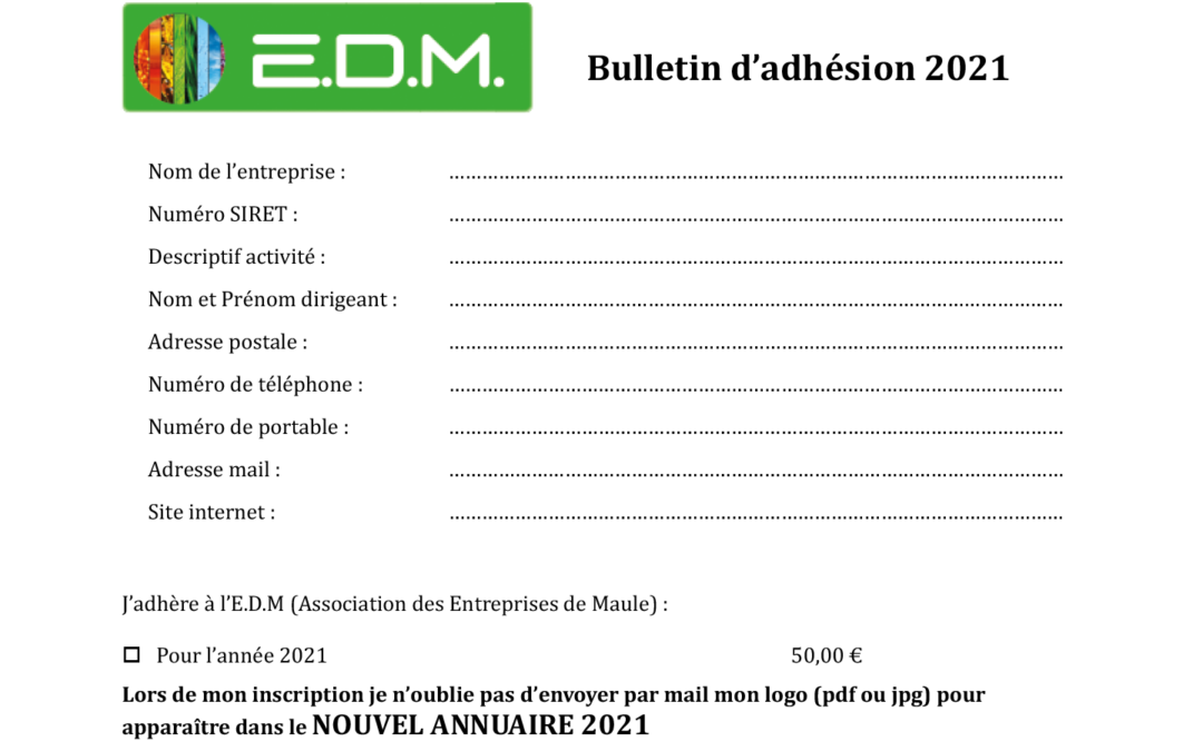 Adhésion à l'association EDM pour 2021
